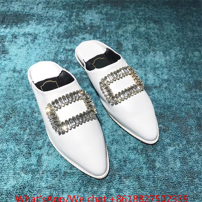 as Rue Sapato Feminino Femmes Chaussures Appartements Strass Mules Boucles As Show Dames Pointu Style British Pantoufles Show pTw4P0