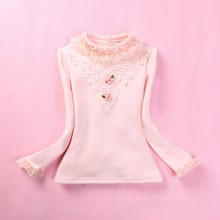 Kids Girls Lace Blouses Shirt Autumn Winter Girl School Clothes Cotton Long Sleeve Bottoming Blouse For Teen Children's Clothing