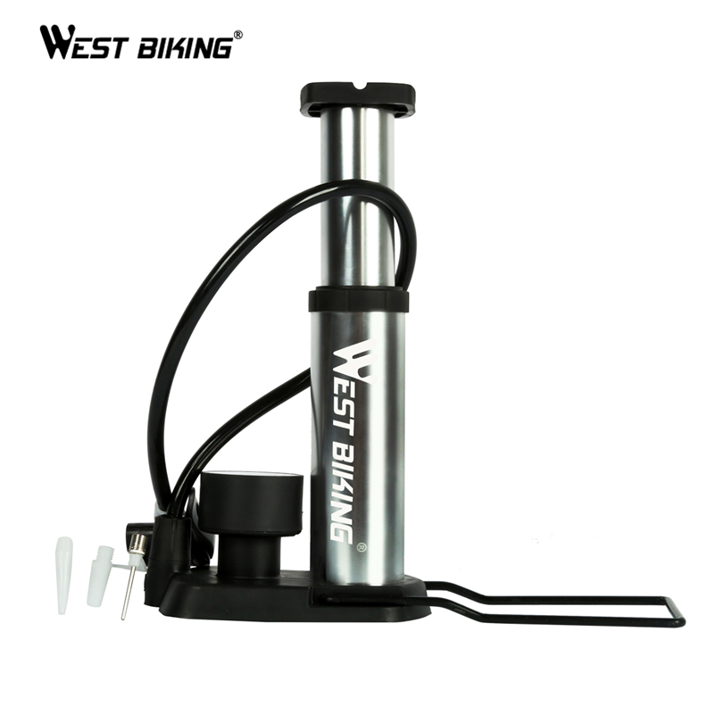 WEST BIKING Ultra-light Bicycle Portable Pump Cycling Pump With Barometer MTB Road Bike Outdoor Sports High Pressure Pedal Pump