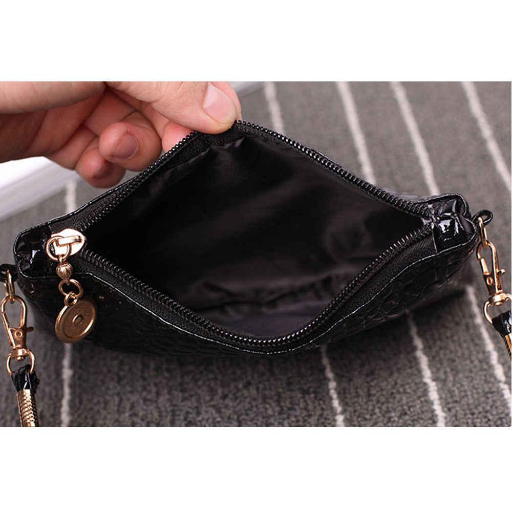 Moda mini bolso de cuero para mujer bolso de hombro moda cocodrilo patrón cremallera bolso color sólido embrague