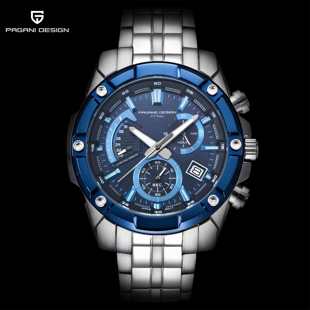 PAGANI Design Marke Luxus relogio Große Zifferblatt Blau Uhr Männer Stahl Wasserdicht Militär Sport Uhren Herren Quarz Uhr 2018 Neue-in Quarz-Uhren aus Uhren bei  Gruppe 1