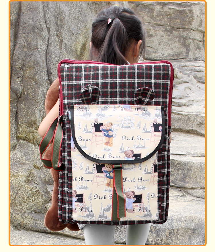 British Wind Children Art Bag School Kids Art Supplies Painting Board Bag Foldable Cartoon Cute Art School Bag Drawing Bag