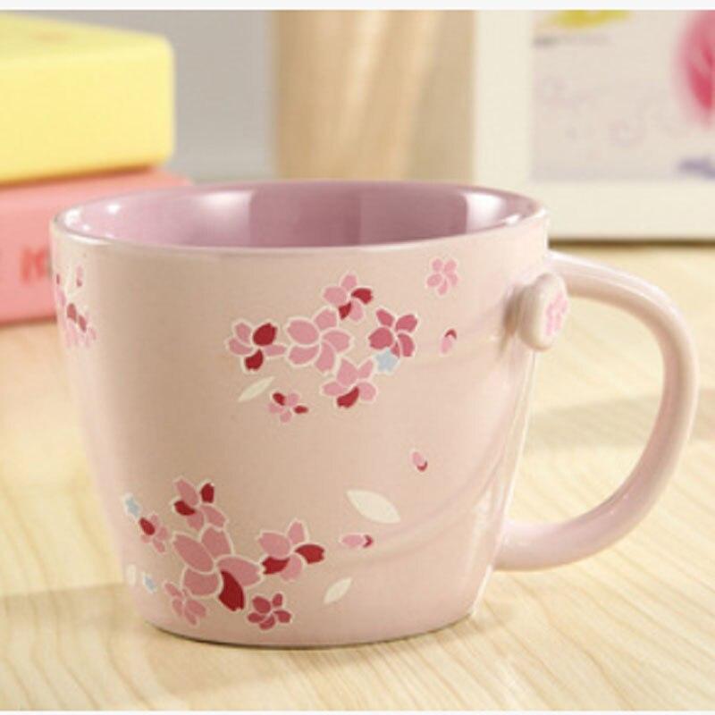 355ml 12oz Pink Cherry Blossom Sakura Ceramic Coffee Mugs Insulated Travel Mug Elegant Tea