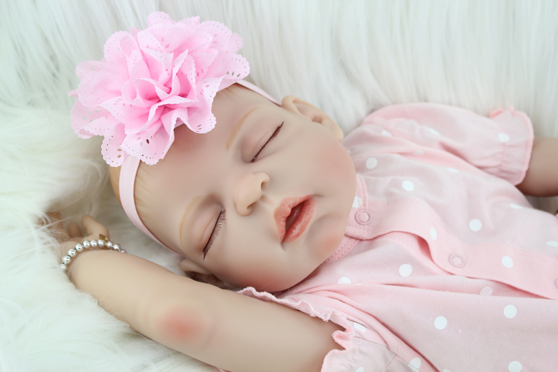55cm Full Silicone Body Reborn Baby Sleeping Doll Toys Realistic Newborn Girl Babies Dolls Child Birthday Gift Girls Brinquedos полочка решетка угловая 2 х ярусная 18 18 см fbs ryna хром ryn 003