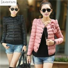 Women Silm Autumn Winter O-neck Bowtie Light Weight Warm Outwear Jacket Coats Cotton Short Down Parkas girls Inverno Feminino