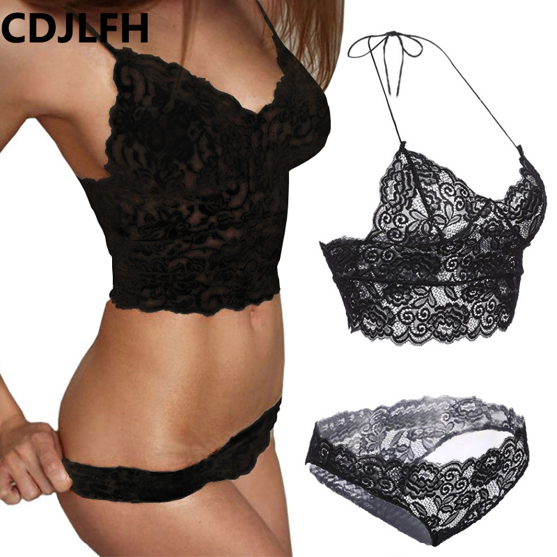 CDJLFH 2018 Comfortable Lace Women   Bra     set   Erotic Sexy Lingerie Temptation Lace Underwear Three Point Suits Sexy   Bra     Brief   Suit