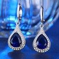 Cristal azul Gota de Agua Cuelga Los Pendientes Blancos 585 Chapado En Oro gotas para los oídos para Las Mujeres Del Partido Elegante Joyería Mejores Regalos de Amor HE20