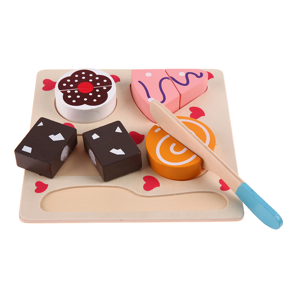 wooden kitchen cut dessert food pretend play kitchen cooking kids educational toys
