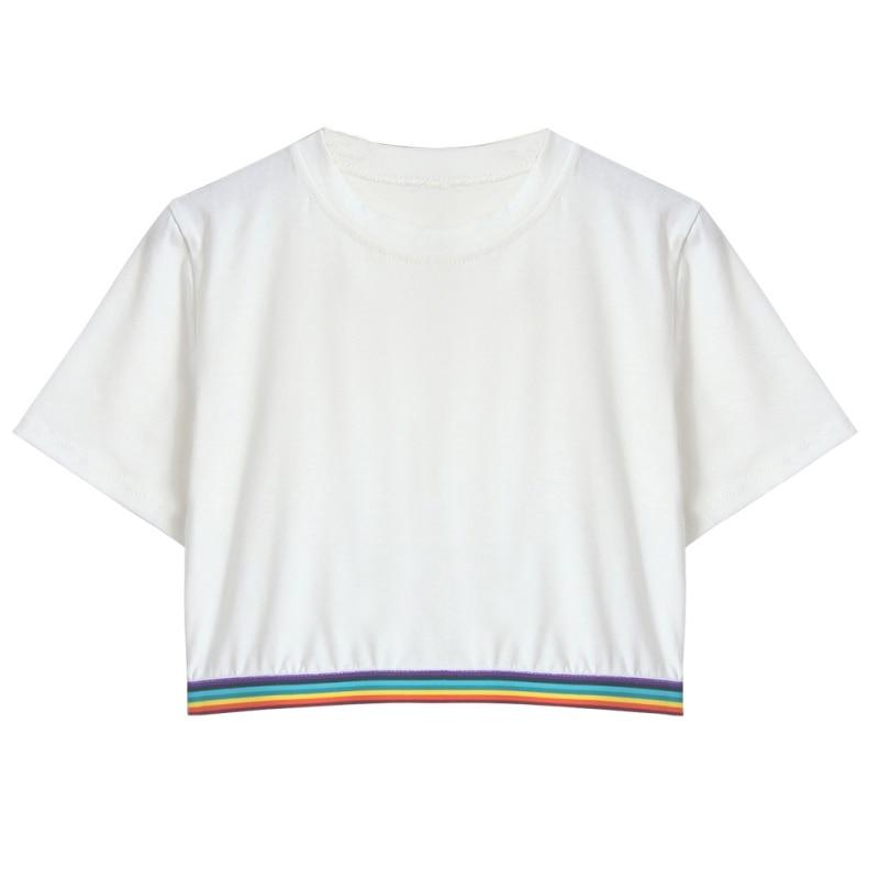 Realistic Women Summer Rainbow Femme Block Striped Crop Top School Girl Teen T Shirts High Quality Casual Loose Tops T-shirts Tops & Tees