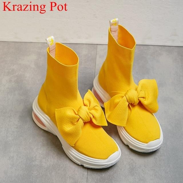 2018 siêu sao ngọt ngào đan trượt trên giày cao gót phụ nữ mắt cá chân khởi động giữ ấm ngắn gọn thương hiệu nêm thanh lịch màu vàng mùa đông giày l12