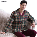 BXMAN Brand Men's Classic Pijamas Hombre Cotton Plaid Turn-down Collar Full Sleeve Men Pajamas Sets Modal 51