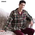 BXMAN Brand Men's Classic Pijamas Hombre Cotton Plaid Turn-down Collar Full Sleeve Men Pajamas Sets Modal 51