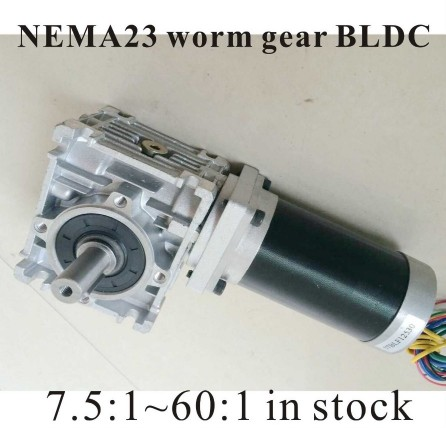 NEMA 23 Worm Reducer Brushless DC Motor 24V 3000rpm 103W Gear Ratio 5 7.5 10 15 20 25 40 50 60 80:1NEMA 23 Worm Reducer Brushless DC Motor 24V 3000rpm 103W Gear Ratio 5 7.5 10 15 20 25 40 50 60 80:1