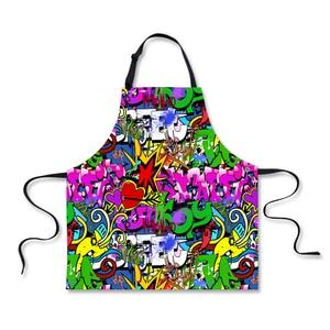FORUDESIGNS tabliers en motif Graffiti | Sans manches, Anti huile, taille de cuisine, tablier pour femmes BBQ Chef tablier jardiniers 75*67cm