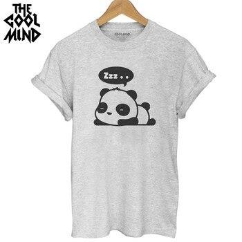 THE COOLMIND Top quality Cotton Fashion panda print loose women tshirt cool funny women's tee shirts tops 2017 new T shirt