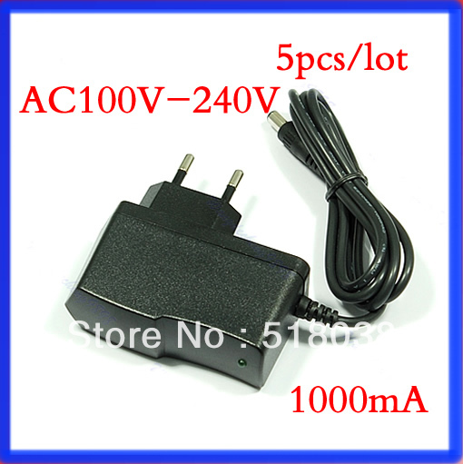 5pcs-lot AC 100V-240V to DC 12V 1A Plugtop Power Supply Adapter Charger with EU plug 1000mA