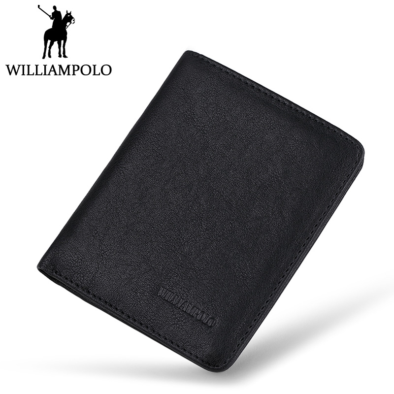 WilliamPOLO Mens Mini Wallet Black Purse Card Holder Genuine Leather Slim Wallet Men Small Purse Short Bifold Cowhide 2 Fold Bag mens wallets black cowhide real genuine leather wallet bifold clutch coin short purse pouch id card dollar holder for gift