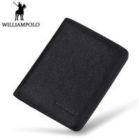 WilliamPOLO Mens Mini Wallet Black Purse Card Holder Genuine Leather Slim Wallet Men Small Purse Short Bifold Cowhide 2 Fold Bag