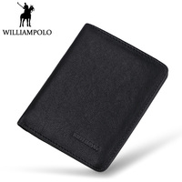 WilliamPOLO Mens Mini Wallet Black Purse Card Holder Genuine Leather Slim Wallet Men Small Purse Short Bifold Cowhide 2 Fold Bag