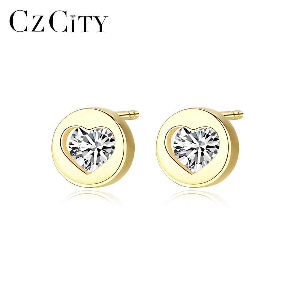 CZCITY Real 14K Gold Small Cubic Zircon Heart Stud Earrings for Women Cute 14K Gold Earrings