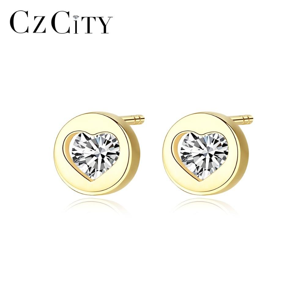 ffc63af32cf2c US $44.26 30% OFF Aliexpress.com : Buy CZCITY Real 14K Gold Small Cubic  Zircon Heart Stud Earrings for Women Cute 14K Gold Earrings Brand Wedding  ...