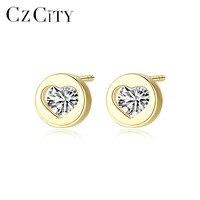 CZCITY Real 14K Gold Small Cubic Zircon Heart Stud Earrings for Women Cute 14K Gold Earrings Brand Wedding Jewelry Carving Au585