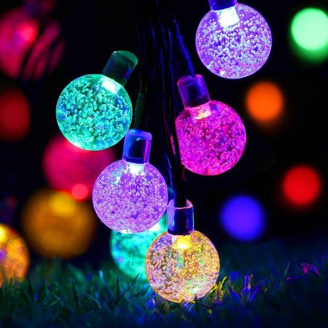 Auto de la lámpara Solar Led Light Cuerdas 6.8 M Al Aire Libre Decoración Del Árbol de Navidad Ornamento 30 Bolas De Cristal Cadena Ligera Impermeable Nuevo año