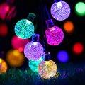 Auto lâmpada de Luz Solar Led Cordas 6.8 M Ao Ar Livre Decoração Da Árvore de Natal Ornamento 30 Bolas De Cristal Seqüência de Luz À Prova D' Água Nova ano