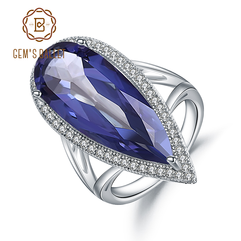 Gem's Ballet 11.48Ct Natural Iolite Blue Mystic Quartz Gemstone Cocktail Ring 925 Sterling Silver Jewelry for Women Fine Rings