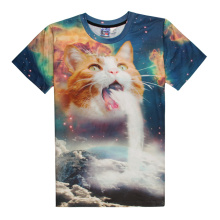 2017 Unisex Creative Kitten T-Shirt Cat Waterfall Surprize 3D T Shirts Summer Galaxy Nebula Space Tees Shirt For Men/Women B9002