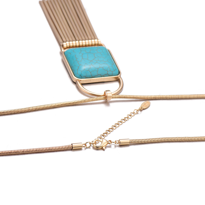 2018 New Fashion Nature Stone Pendant Long Chain Necklace Gold Silver Color Bar Tassel Necklace For Women Jewelry dropshipping 6