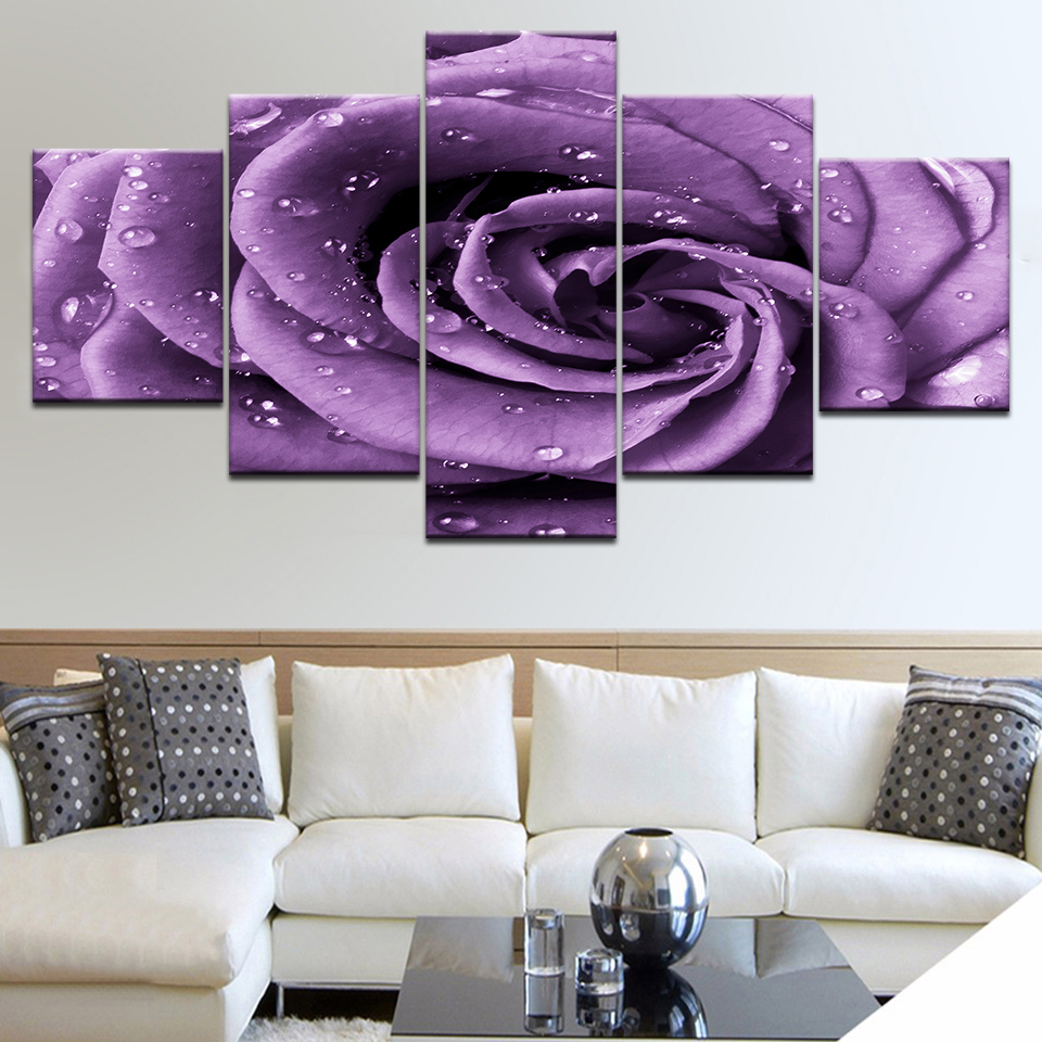 5 Панель HD с роса на фиолетовый цветок розы стены Плакаты Печать на холсте Книги по искусству Картины для дома гостиная украшения