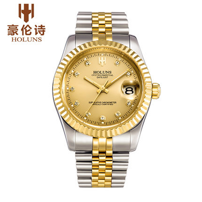 ФОТО HOLUNS Mens Watches Top Brand Luxury Automatic Gold Watch Stainless Steel Vintage Mechanical Wristwatches Gift Relogio Masculino