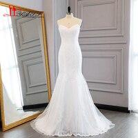 2017 Simple Elegant Mermaid Lace Wedding Dresses Robe De Mariage Spaghetti Straps Sweetheart Cheap Bridal Dress