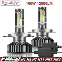 BraveWay DOB Chip LED H1 H4 H7 H8 H11 HB3 HB4 LED Light Bulbs H4 H7 Headlight Bulb 9005 9006 LED Bulb H1 Car Light H7 LED Canbus