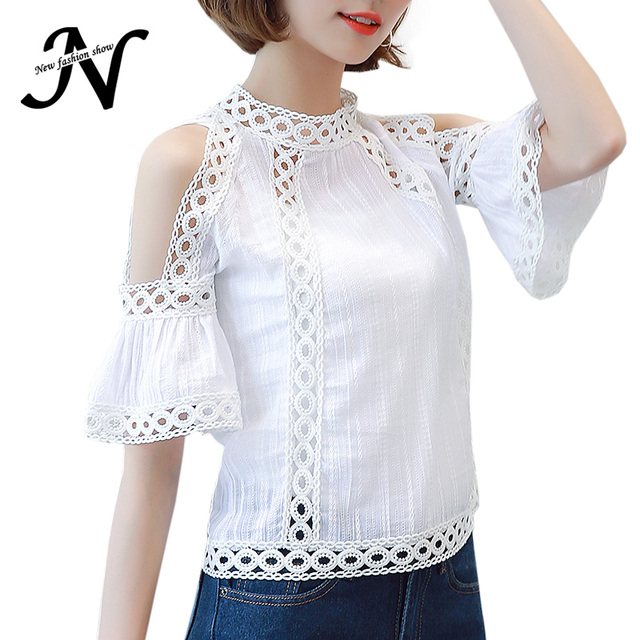 7f1c3d8d52a Cold Shoulder Lace Blouse White Fashion 2018 Hollow Out Summer Tops Korean  Flare Sleeve Patchwork Crochet Shirt Women Clothing