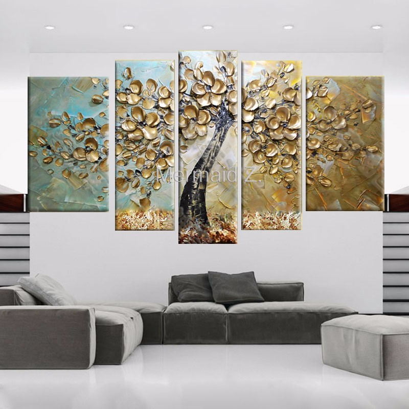 Hand Painted Modern Abstract Gustav Klimt gold Tree Of Life Oil Painting On Canvas pallet knife painting 5 Panel Wall Art Home