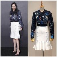 2017 Spring Autumn Fashionable Streetwear O Neck Bow High Quality Dark Blue Star Print Blouse White