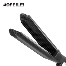 Big discount Escova Alisadora Electric Hair Straightener Iron Corn Plate Temperature Control Straighteners Tools 6 Teeth Corrugated Styling
