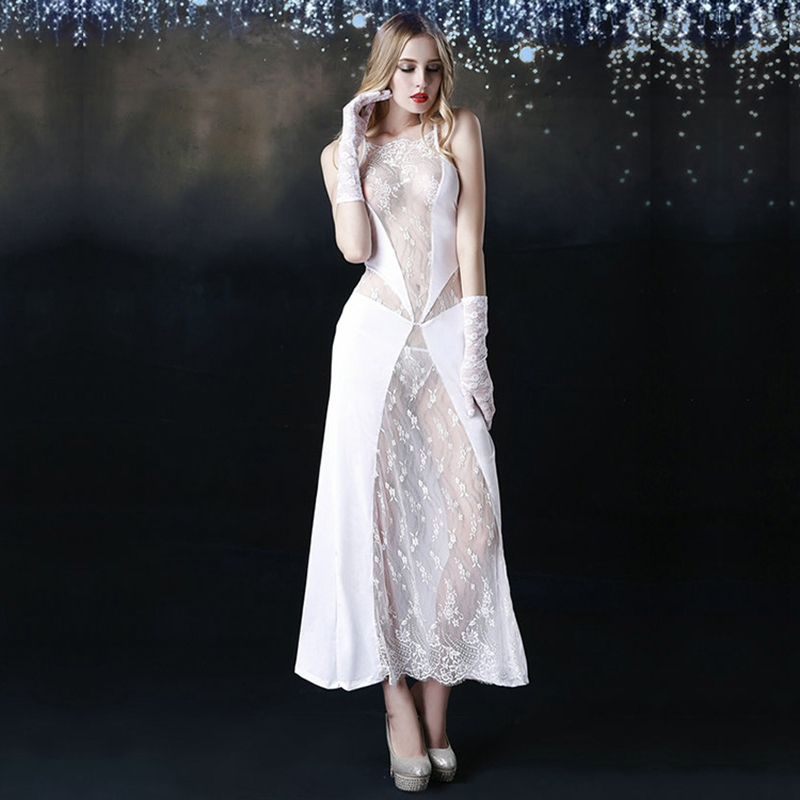 New Porn Babydoll With Waistband Women Sexy Lingerie See Through White Long Dress Hot Erotic Nightwear For Woman 6059
