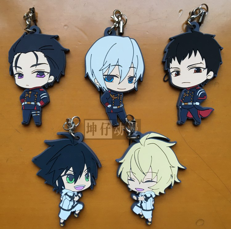 Seraph Of The End Owari No Seraph Anime Yuichiro Hyakuya Hiiragi Shinoa Hiiragi Y Ver Kawaii Japanese Rubber Keychain цена 2017