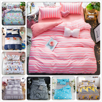 Stripe Plaid Pink Girl Kids Duvet Cover 3/4 pcs Bedding Set 1.5m 1.8m 2m Flat Sheet Bed Linens King Queen Duvet Cover Bedclothes