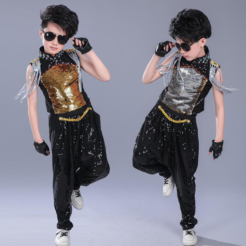 1 Set Kids Sequined Jacket Pants Hip Hop Clothing Jazz Dance Costumes Boys Carnival Drum Performance Ballroom Dancing Outfits