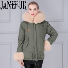 Khaki Green Shell Parka Real Fox/Faux Fur Cuffs,Fur Hood Down Oversized Fur Trim Parka,Real Fur Russia Parka