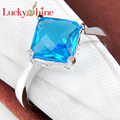 Promotion Classic Fire Square Sky Blue Created Topaz Silver Plated Wedding Rings Russia USA Holiday Gift Rings Australia Rings