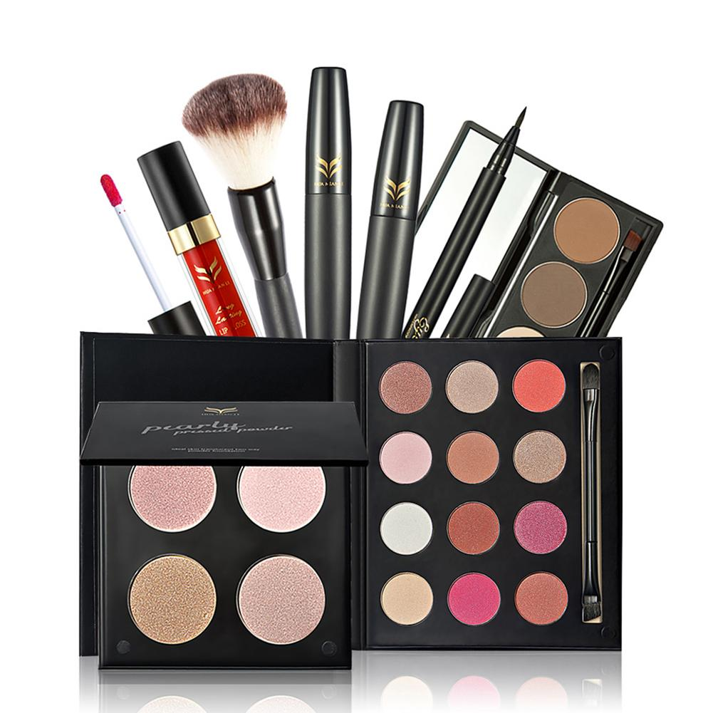7pcs Makeup Starter Kit Make Up Cosmetics Palette Eye Shadow Concealer Lip Gloss Eyeliner Makeup Brush Eye Face Makeup Set 7pcs makeup brush set professional face eye shadow eyeliner foundation blush lip make up brushes powder liquid cream cosmetics