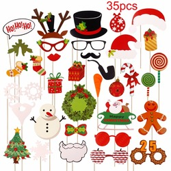 PATIMATE Christmas Paper Hat Funny Moustache Party Mask Photography Christmas Decoration Photo Props 6