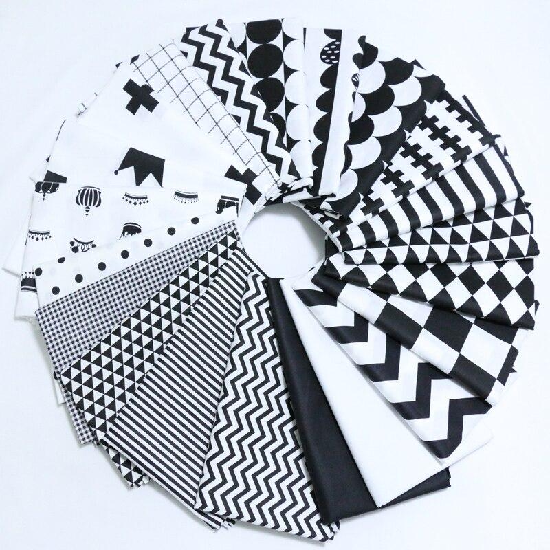 160*50 cm Clássico Black & White Estilo Telas de Tecido de Sarja de Algodão Material Do Brinquedo DIY Patchwork Costura Quilting Cama Tecido caixa de Tecido