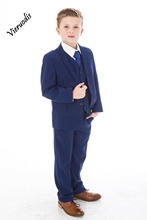 Boys Blue Suits Royal Suit Navy Formal Wedding PageBoy Party Prom 3pcs
