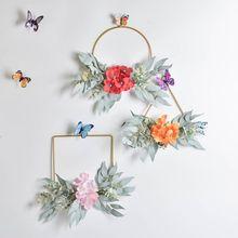 New Geometric Metal Garland Simulation Hydrangea Backdrop Wall Ornament Wreath Home Decoration